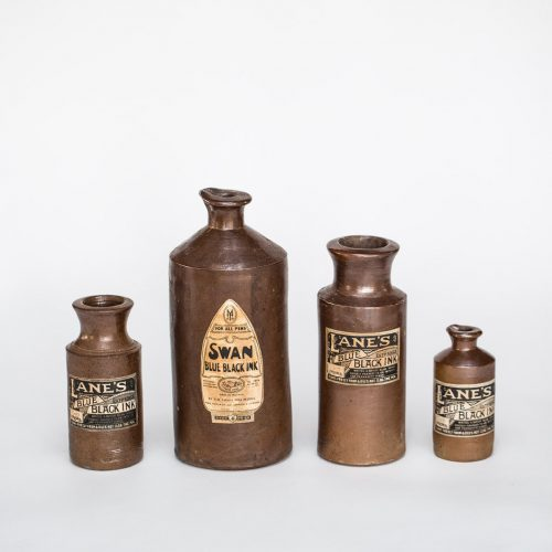 Vintage stoneware ink bottles for hire