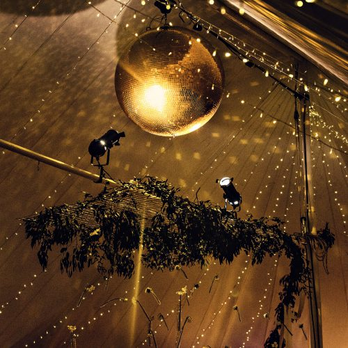 fairy light ceiling in wedding marquees